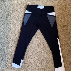 Zella Black and White Mesh Crop Leggings
